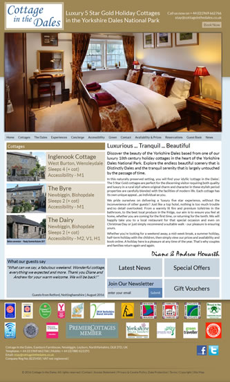 Screenshot of Cottage in the Dales - Cottage in the Dales website
