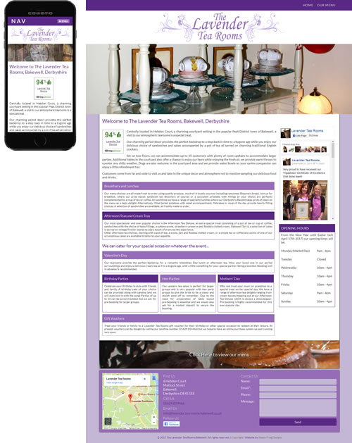 Screenshot of Lavender Tea Rooms - Lavender Tea Rooms website
